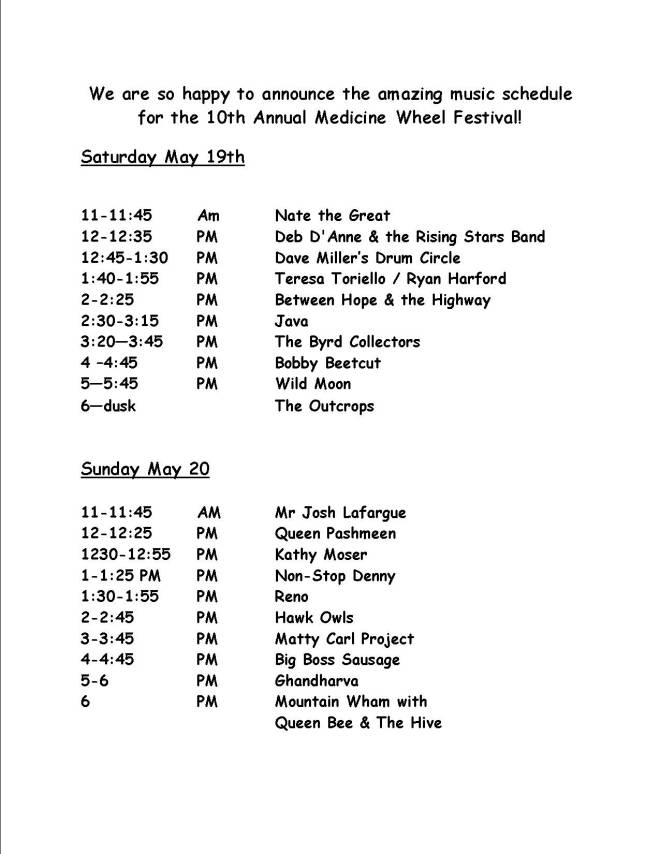 2018 Music Schedule – Medicine Wheel Garden & Festival